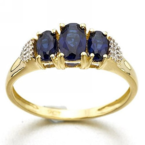 Ring Gold Yellow 18k Plated - Huanhuan Jewelry Women's Halo Three Oval Stone Blue Synthetic Sapphire CZ 18k Yellow Gold Plated Ring Band for Valentine's Day Promise Engagement Size 6
