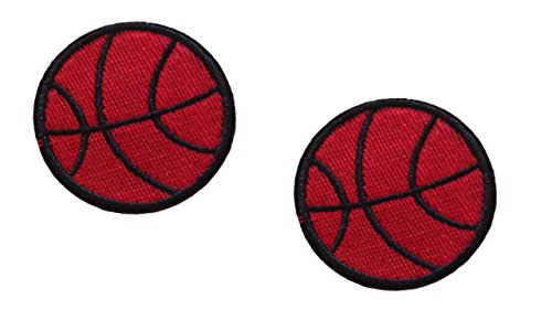 2 small pieces BASKETBALL Iron On Patch Applique Motif Fabric Ball Sports Children Decal dia. 1.6 inches (4 cm)