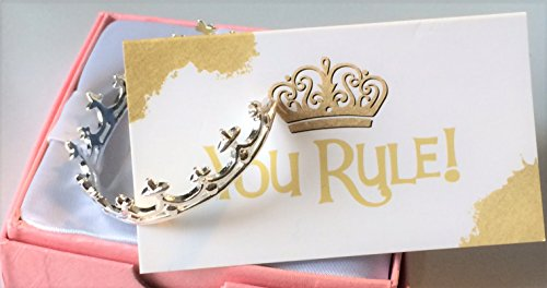 Smiling Wisdom - You Rule! Queen of Everything - Princess Tiara Bracelet Gift Set - Empowering Message - Crown Jewelry - For Girls, Teens, Women, Her, Employee, Friend - .925 -