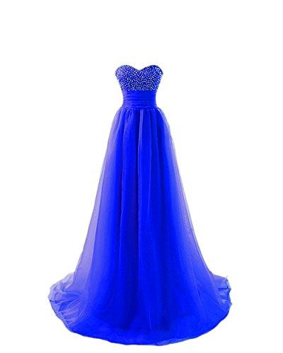 Engerla mujer de tul novia no-sleeve Empire para cuentas y conectado a la parte superior de lentejuelas para vestidos de novia Prom Vestido azul real