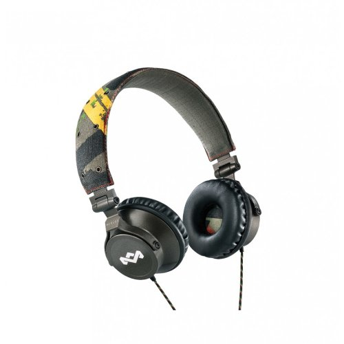 House of Marley EM-JH023-RA Jammin Revolution On-Ear Headphones with 3 Button Microphone, Rasta