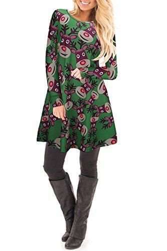 Mini Neve Donne Natale Pupazzo Vestito renna verde Delle Skater Grembiule Di Yming Il Di Renne dXUdvw