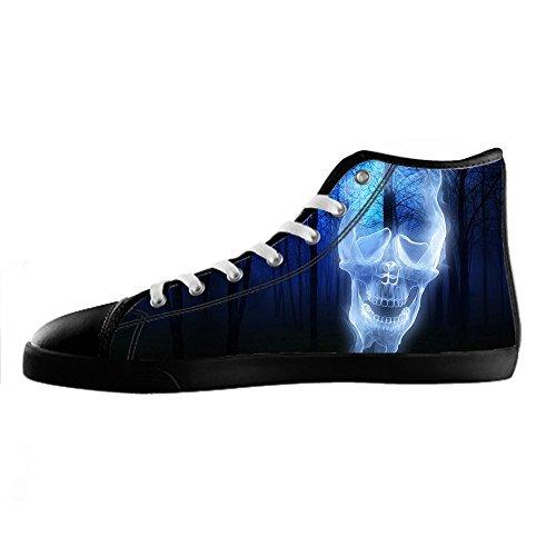 Les Chaussures De Toile De Crâne Des Hommes Faits Sur Commande Les Lacets En Haut Au-dessus Des Chaussures De Baskets Chaussures De Toile.