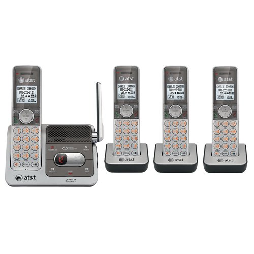 AT&T CL82401 DECT 6.0 Cordless Phone, Silver/Grey, 4 -