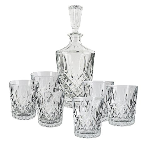 Cognac Bottle - Exquisite Crystal Decanter Set by Luxe Crystal & Glass, 7-Piece Set in Black Gift Box
