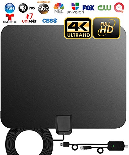[2019 Newest] TV Antenna, Double-Sided Digital Indoor HDTV Amplified Antennas 140+ Miles Range with Smart Switch Amplifier Signal Booster, Free Local Channels 4K HD 1080P VHF UHF All TVs - 17ft Cable