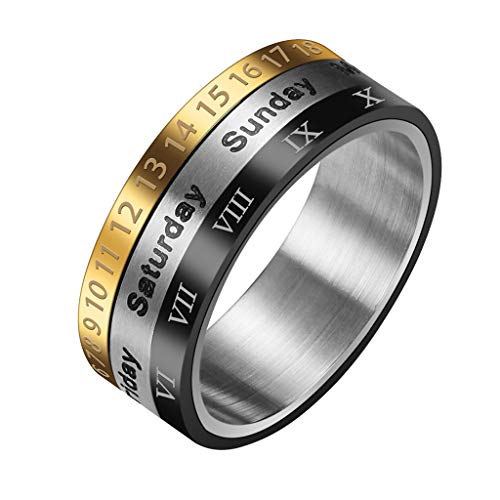 Smooth Ring Retro Wide Rotatable Number Metal Steel Wedding Band Engagement Round Ring for Men Women (Silver, 11) ()