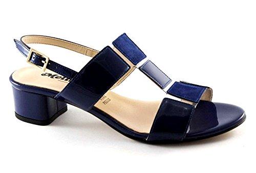 MELLUSO K35081 azul patente de los zapatos de cuero de las sandalias de los talones de las mujeres de la hebilla Blu