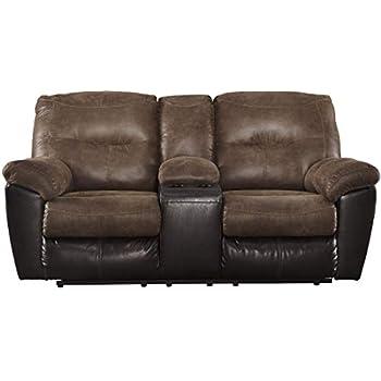 Amazon.com: Ashley Milhaven Double Reclining Faux Leather ...