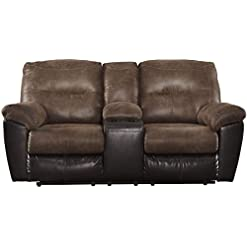 Farmhouse Living Room Furniture Signature Design by Ashley Follett Faux Leather Manual Pull Tab Reclining Loveseat with Center Console, Two Tone Brown farmhouse sofas and couches