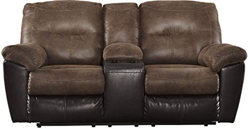 (Ashley Furniture Signature Design - Follett Overstuffed Upholstered Double Reclining Loveseat w/Console - Contemporary - Coffee)
