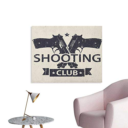 Anzhutwelve Vintage Wallpaper Shooting Club Emblem Sign with Crossed Guns Pistols Grunge Background Hobby Theme Art Poster Cream Black W36 ()
