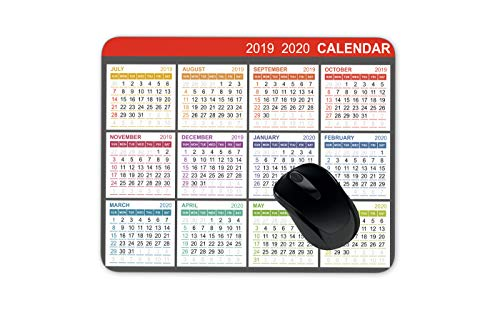 Calendar for Second Half 2019 and First Half 2020 Mouse Pad Gaming Mouse Pad Mousepad Nonslip Rubber Backing (Best Mousepad For Gaming 2019)