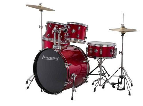 Ludwig 5 Piece Accent''Drive'' Drum Set (Red Foil)