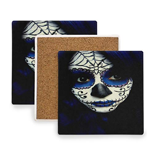 Large Square Drink Coasters,Guy Sugar Skull Makeup Ceramic Thirsty Stone With Cork Back Cup mats Protect Your Furniture From Spills, Scratches,Water Rings and Damage 4pcs]()