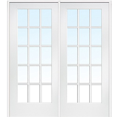 National Door Company ZA09309R Primed Wood Prehung In-Swing Interior Double Door, Clear Glass, 15 Lite, Right Hand, 72