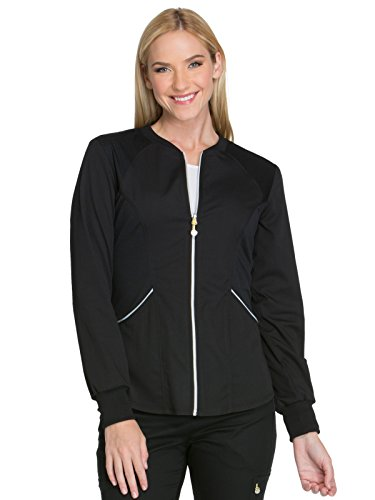 - Cherokee Women's Luxe Sport Zip Front Warm-up Jacket, Black, XX-Large