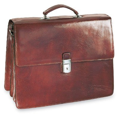 Leather Triple Gusset Flap - Jack Georges [Personalized Initials Embossing] Sienna Triple Leather Briefcase w/Flap Over Gusset in Cognac
