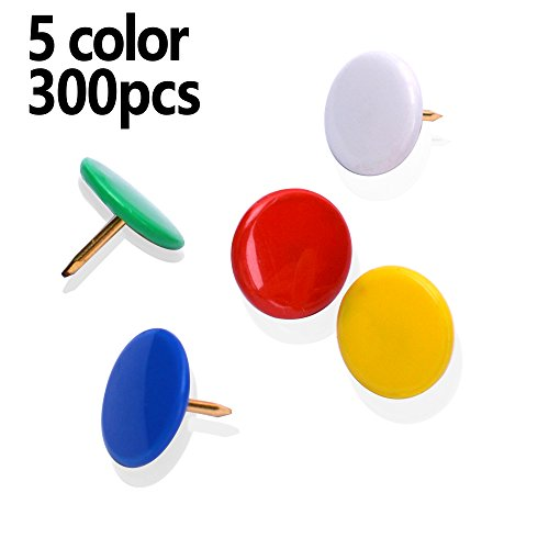 MROCO Thumb Tacks Colored Drawing Pins Color Plastic Round Head Pinks Office Thumbtack, Push Pin for Home, School, Sharp Steel Points 3/ 8 Inch,5 COLOR (Red,Blue,White,Green,Yellow) Box of 300