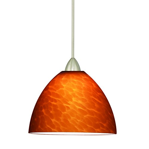 WAC Lighting MP-541-AM/BN Faberge 1-Light 12V MonoPoint Pendant with Amber Art Glass Shade and Brushed Nickel (Rail Monopoint Connector)