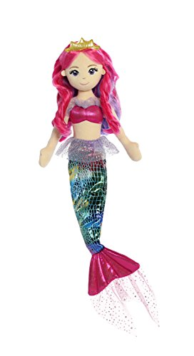 Aurora Sea Sparkles 18 inch Rainbow Fuchsia Mermaid Plush Toy