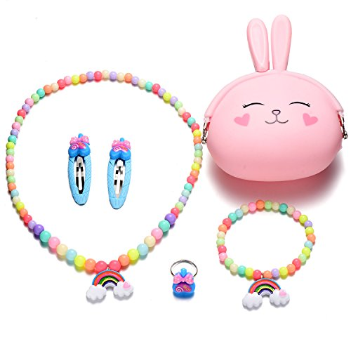 Kids Girls Silicone Rabbit Coin Purse Necklace Bracelet Ring Hair Clips Bands Jewelry Set (Gray Rabbit Rainbow Jewelry Set)