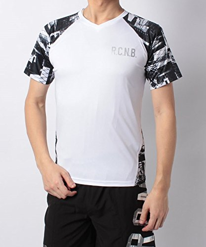 発火する血色の良い軽減(ナンバー) Number RUNシーズンラグランVネックTシャツ BM ホワイト