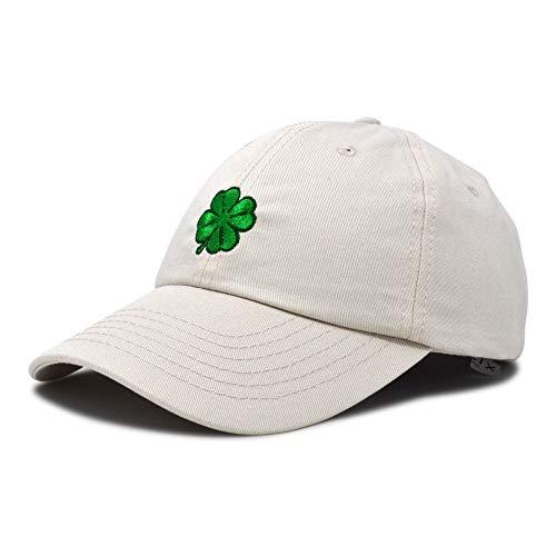 DALIX Four Leaf Clover Hat Baseball Cap St. Patrick's Day Cotton Caps Beige -