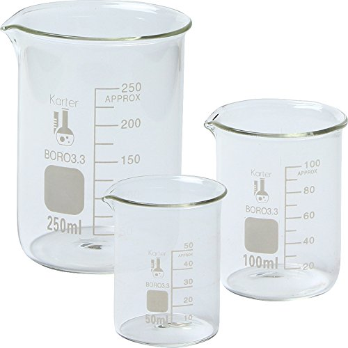 Karter Scientific 214T2, 3.3 Boro, Griffin Low Form, Glass Beaker Set – 3 Sizes – 50ml, 100ml, 250ml