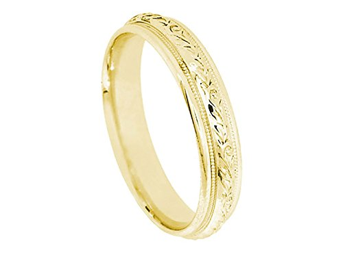 (14k Yellow Gold Floral 4.8mm Comfort Fit Wedding Band Ring size 5.75)