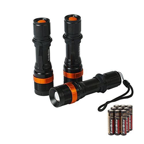 Led Aluminum Torch (EverBrite 3-Pack Adjustable Focus Aluminum LED Flashlight Torch Zoomable Alkaline Batteries Included)