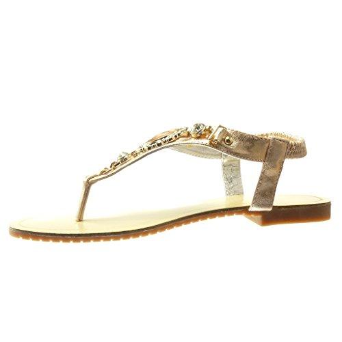 Angkorly - Chaussure Mode Sandale Tong salomés femme bijoux strass diamant fantaisie Talon plat 1.5 CM - Rose