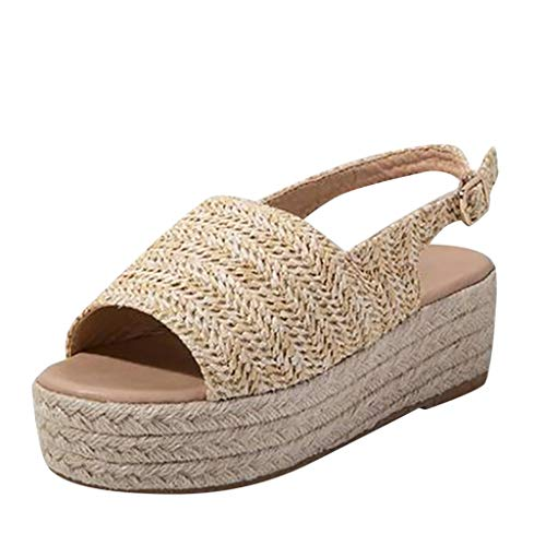 Nuewofally Female Sandals Platform Fish Mouth Gladiator Espadrille Open Toe Retro Peep Leisure Rome Shoes Women Khaki