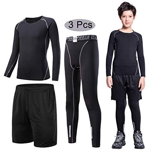 - Tesuwel 2/3/4/5 Pcs Boys Girls Athletic Compression Pants and Shirts Base Layer Thermal Underwear Set Running Tights Leggings