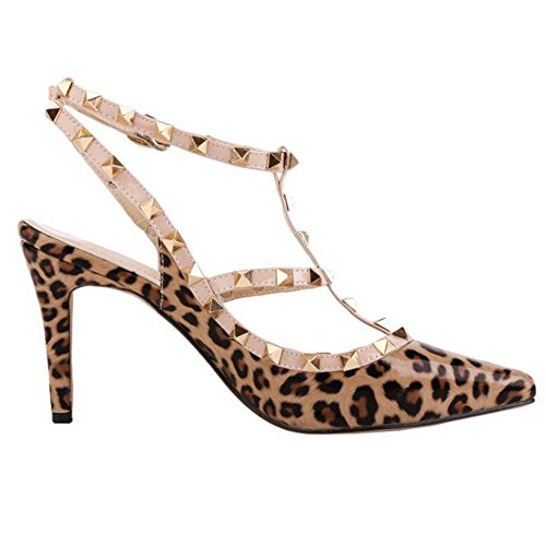 Leather Color Leopard Out Womens Rivet Pumps PU Custom Hollow Candy Made Dress qwPAStPX