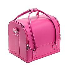 Drasawee Women's Portable Waterproof PU Cosmetic Toiletry Bag Travel Makeup Organiser Case Rosy Red