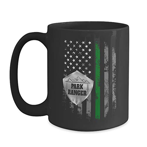 Thin Green Line Flag Park Ranger Mug - 15 oz Black Coffee | Tea Mug Environmental Conservation Gift