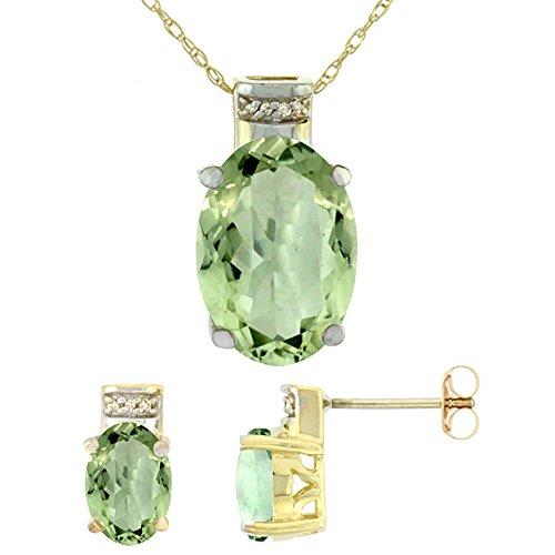 Jewellery World Bague en or jaune 9carats Diamant de boucles d'oreilles et pendentif améthyste naturelle ovale vert accents