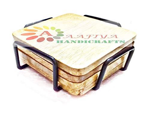 Aafiya Handicrafts Wooden & Wrought Iron Tea Coaster Set Gift/Kitchen/Decor Item Price & Reviews