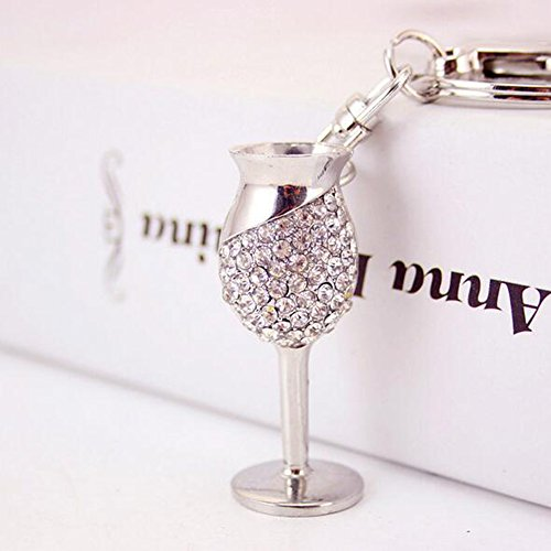 Jzcky Shzrp Goblet Shape Crystal Rhinestone Keychain Key Chain Sparkling Key Ring Charm Purse Pendant Handbag Bag Decoration Holiday Gift(White)