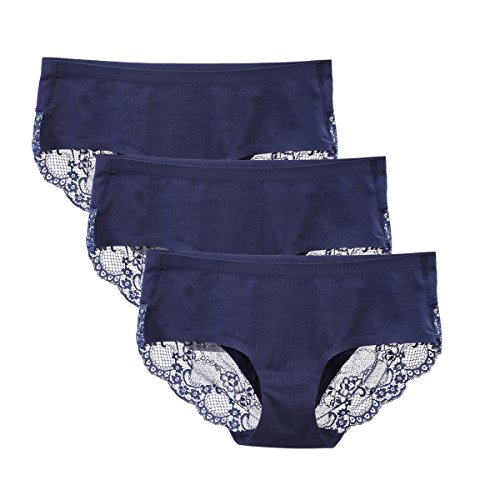 LIQQY Women's 3 Pack Cotton Lace Coverage Seamless Brief Panty Underwear (Navy Blue, Medium)