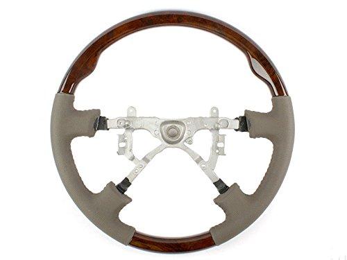 Deltalip Replacement Steering Wheel Dark Wood Grain Leather Grip For Toyota Land Cruiser Lexus LX470