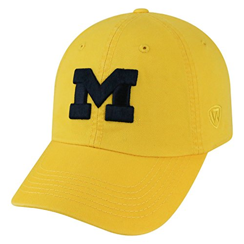 - Top of the World NCAA-Cotton Crew-City-Adjustable Strapback-Hat Cap-Michigan Wolverines-Maize