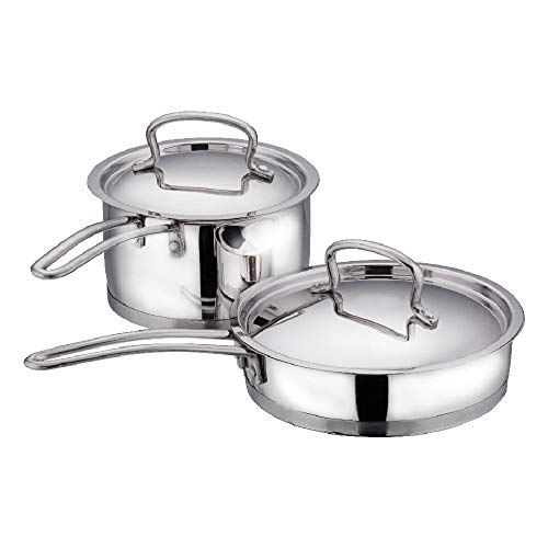 Vinod Classic Deluxe Stainless Steel Induction Friendly 2 Pcs. Set (16 cm Stainless Steel Saucepan with Lid, 20 cm Stainless Steel Fry Pan with Lid) Price & Reviews