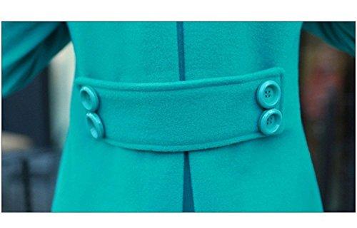 Manga Gabardina Piel Coat Cortavientos Cuello Otoño Abrigos Color Sólido Mujer Parka Tallas Largo Casual De Elegantes Doble Grandes Especial Botonadura Verde Slim Ropa Estilo Fit Outcoat Invierno Larga 0wawx