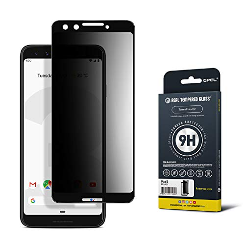 GPEL Privacy Screen Protector for Google Pixel 3 Premium Japanese Asahi Real Tempered Glass [Privacy Anti Spy] Case-Friendly Work with Most Case HD Clarity 9H Hardness 99% Touch Accurate