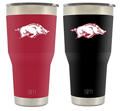 (Simple Modern University of Arkansas 30oz Cruiser Tumbler 2-Pack - Vacuum Insulated Stainless Steel Hogs Travel Mug - Razorbacks Woo Pig Sooie Tailgating Cup College)