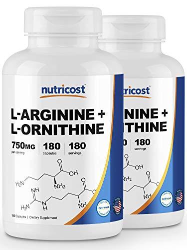 Nutricost L-Arginine L-Ornithine 750mg 180 Capsules 2 Bottles