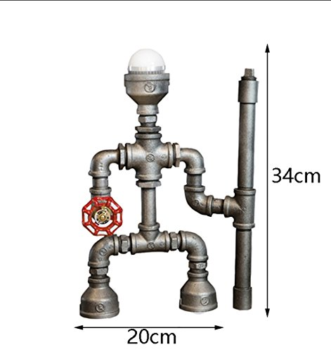 Retro Water Pipe Iron Art LOFT Study Desktop Eye Protection Table lamp/Personality Creative Industrial Wind Bedside Robot Table lamp Size: 2034cm by Table Lamps Q (Image #1)