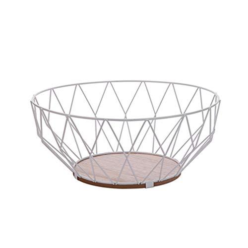 Nordic Creative Iron Collection Basket Fruit Basket Modern Fruit Plate Living Room Household Snack Storage Basket Fruit Bowls (White)